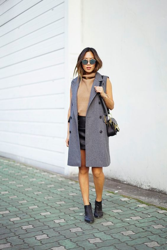 cute-long-trench-vest-and-ribbed-turtleneck-top