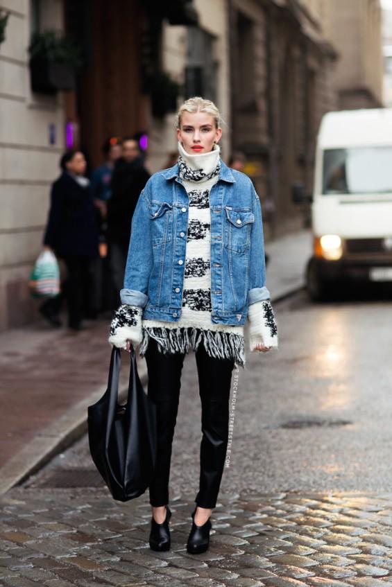 turtleneck-sweater-fringe-boho-chunky-sweater-black-skinnies-shiny-pants-denim-jacket-black-tote-winter-via-stockholmstreetstyle-683x1024